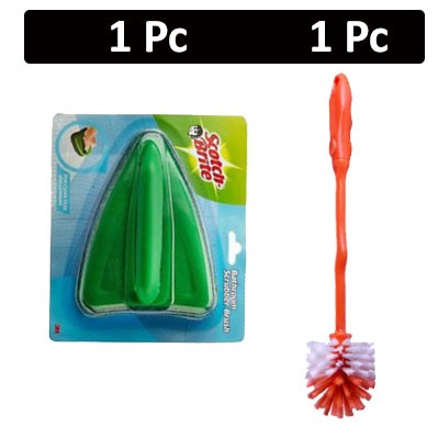 HF COMBO - Scotch Brite - Bathroom Scrubber Brush + Rogers - Round Toilet Brush