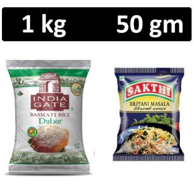 HF COMBO - India Gate - Basmati Rice Dubar  + Sakthi Masala - Briyani Masala