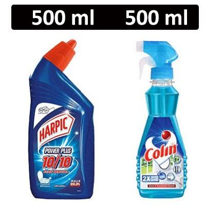HF COMBO - Harpic - Power Plus (Original) + Colin - Glass Cleaner