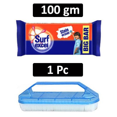 HF COMBO - Surf excel - Detergent Bar Soap + Rogers - Cloth Washing Brush