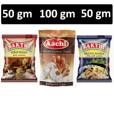 HF COMBO - Sakthi Masala - Garam Masala + Aachi - Ginger Garlic Paste + Sakthi Masala - Briyani Masala