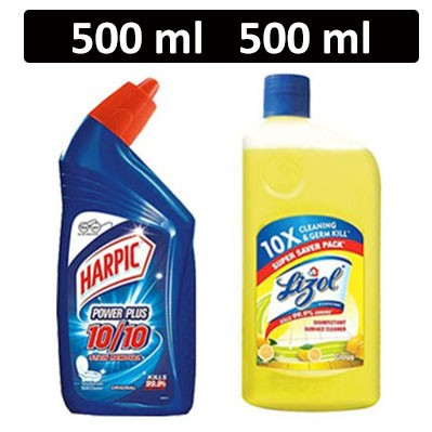 HF COMBO - Harpic - Power Plus (Original) + Lizol - Disinfectant Surface Cleaner