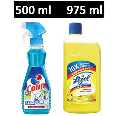HF COMBO - Colin - Glass Cleaner + Lizol - Disinfectant Surface Cleaner (Citrus)
