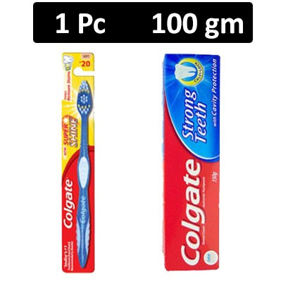 HF COMBO - Colgate - Super Shine Medium Toothbrush + Colgate - Strong Teeth Toothpaste