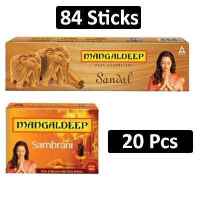 HF COMBO - Mangaldeep - Sandal Puja Agarbatti + Carton Mangaldeep - Pooja Sambrani