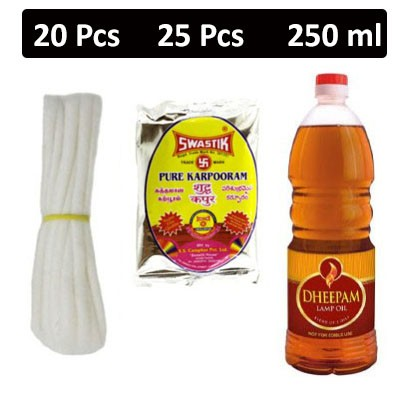 HF COMBO - Rogers - Cotton Lamp Wicks + Swastik - Surabhi Karpooram Tablets + Dheepam - Lamp Oil